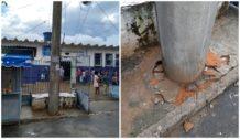 Tragédia anunciada poste pode cair a qualquer momento no Bairro da Santa Cruz.
