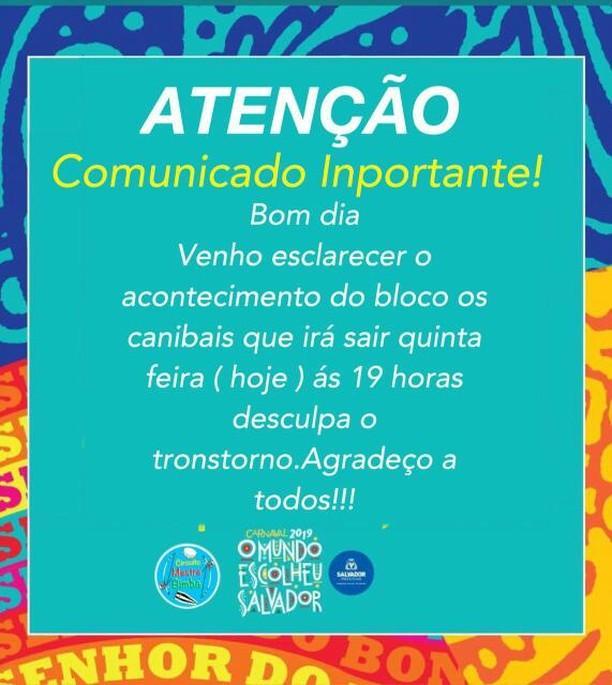 Photo of Bloco Os Canibais emite nota pública aos associados: 'Ficamos impossibilitados de sair ontem (26)'