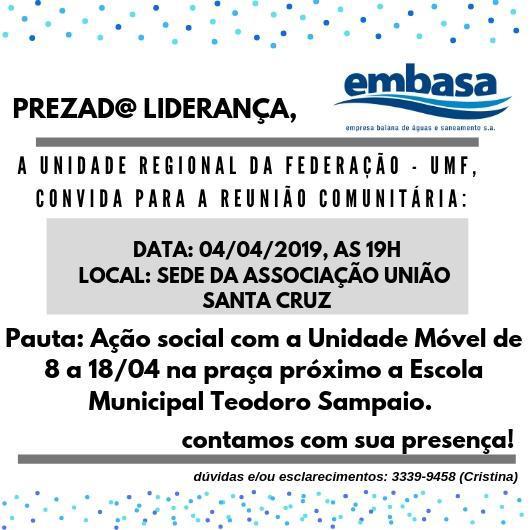 Photo of Embasa promove reunião com moradores da Santa Cruz